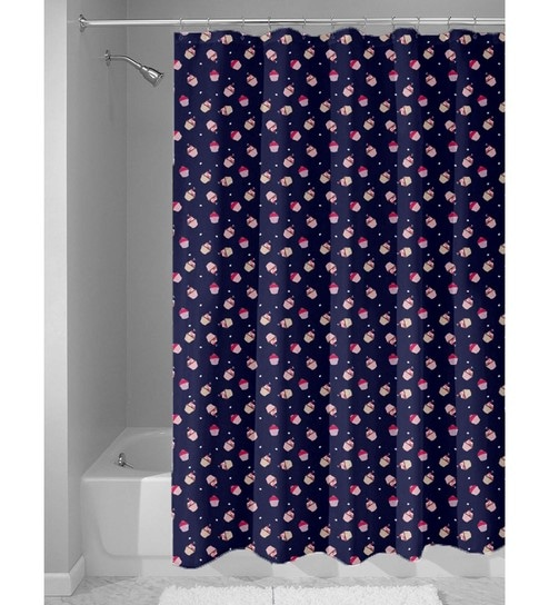 Navy Blue Nylon 84 X 48 Inch Shower Curtain By Haus And Sie