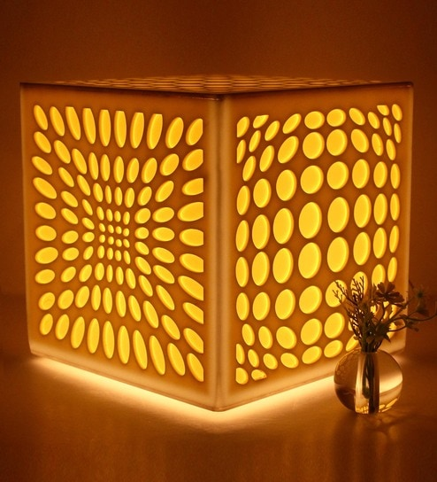White Acrylate Modern Square 3D Table Lamp By Haverds