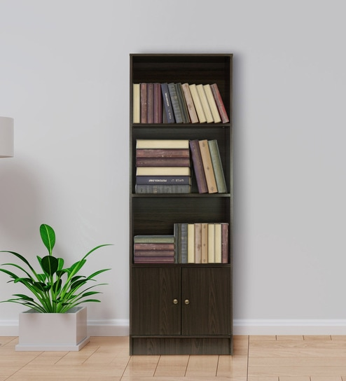 Hayao 3 Tier Book Shelf With Bottom Cabinet In Wenge Finish By Mintwud