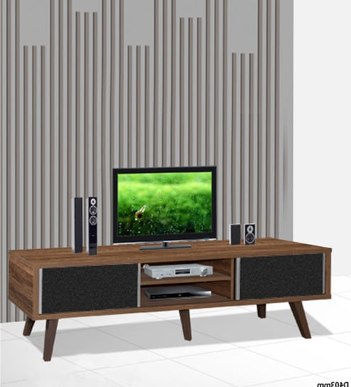Hayate Entertainment Unit With Two Drawers In Oak Finish