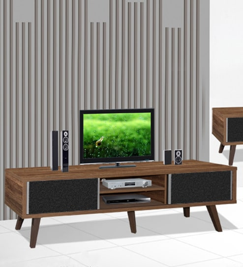 Hayate Wide Entertainment Unit With Two Drawers In Oak Finish