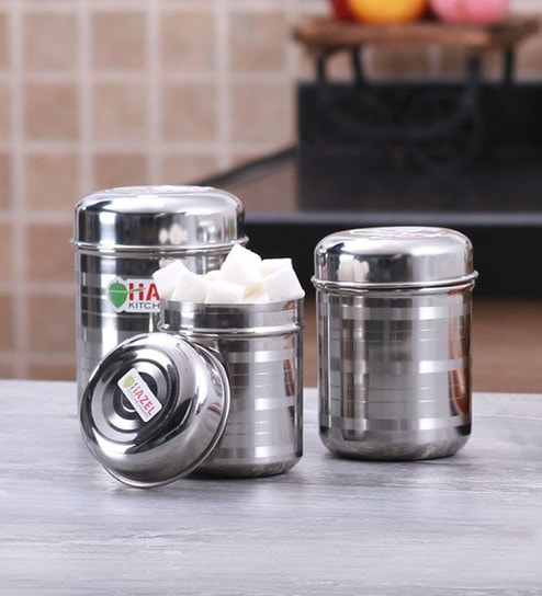 Buy Hazel Kitchen Storage Silver Storage Container Set Of 3 Online