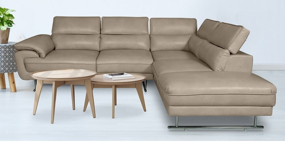 Buy Haiden Lhs L Shape Sofa With Adjustable Headrest In Cream