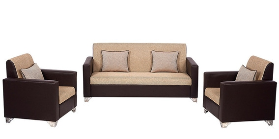 Incredible Harbour Sofa Set 3 1 1 In Brown With Jute Colour By Arra Theyellowbook Wood Chair Design Ideas Theyellowbookinfo
