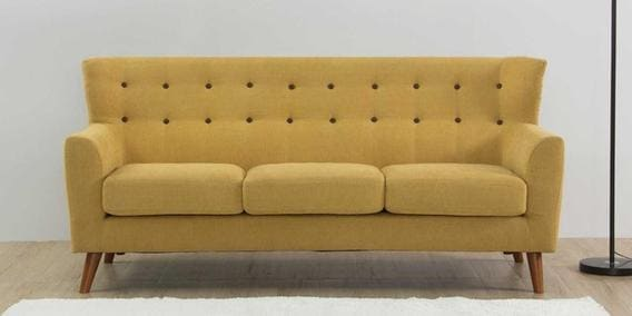 Havana Three Seater Sofa in Ochre Colour by CasaCraft