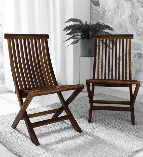 Buy Harmony Solid Wood (Set of 2) Folding Chair in Provincial Teak Finish -  Woodsworth By Pepperfry Online - Wooden Folding Chairs - Chairs - Furniture  - Pepperfry Product