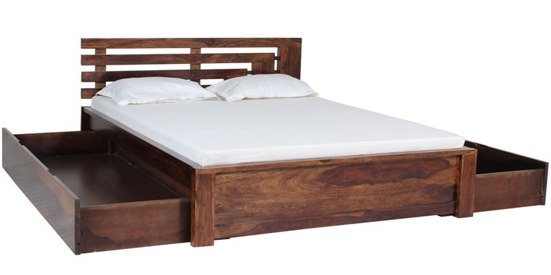 Buy Woodinville Queen Bed With Storage In Provincial Teak