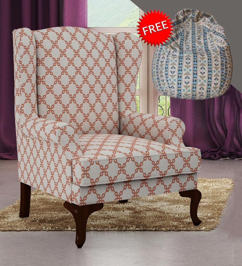 Groovy Hamilton Embroidered Wing Chair In Beige Rust Colour With Bean Bag Cover By Arra Ibusinesslaw Wood Chair Design Ideas Ibusinesslaworg