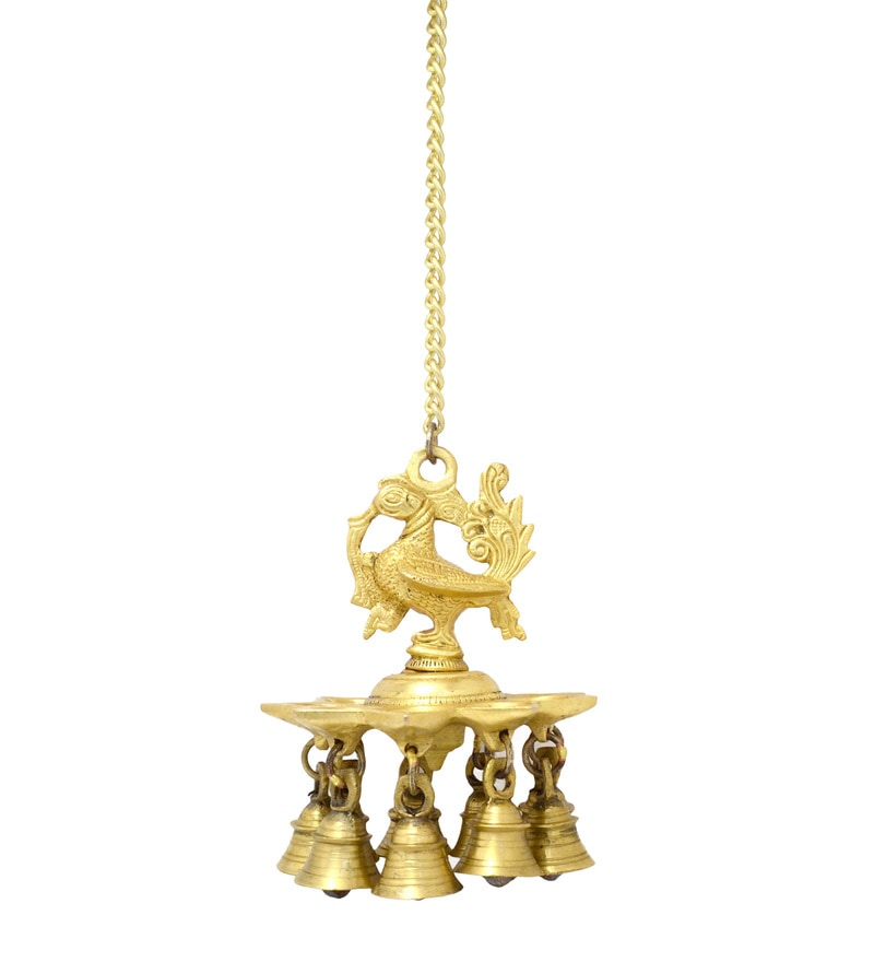 Antique Yellow Hanging Peacock Deepak With Bells and Chain by Handecor