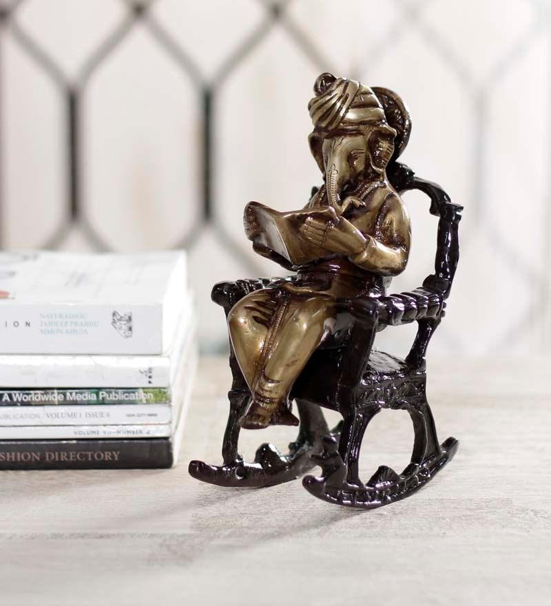 Wondrous Multicolor Brass Ganesh On Rocking Chair Idol By Handecor Complete Home Design Collection Barbaintelli Responsecom