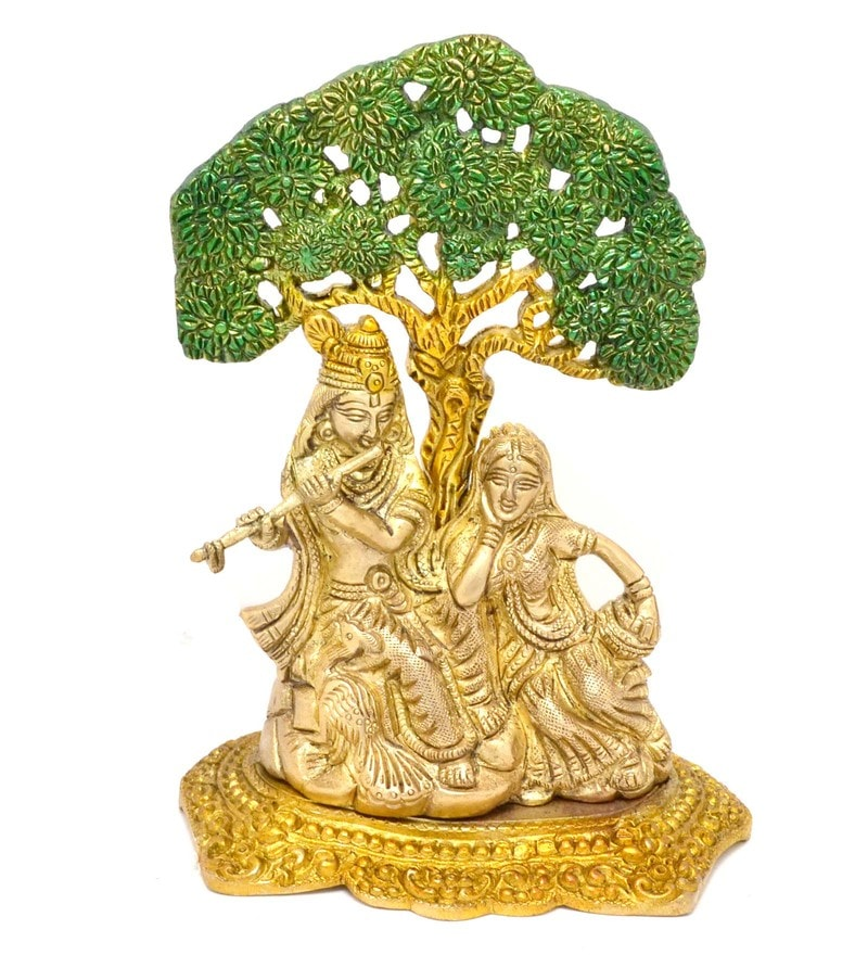 Handecor Multicolour Radha Krishna Under Tree Premium Showpiece