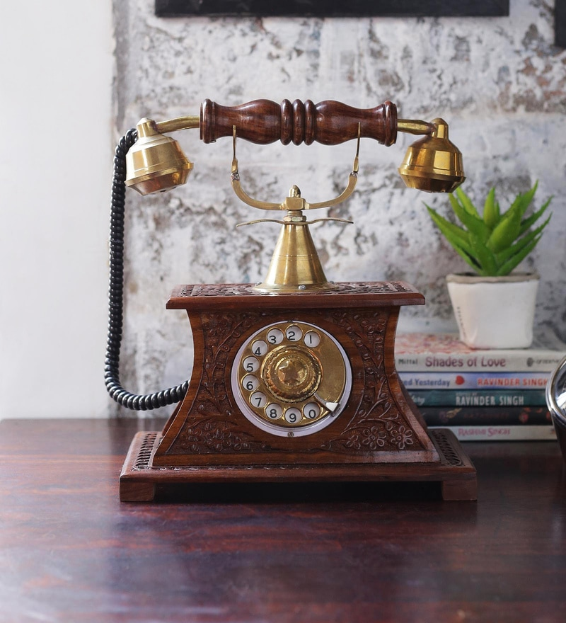 Brown Solid Wood Retro Telephone by Hanumant