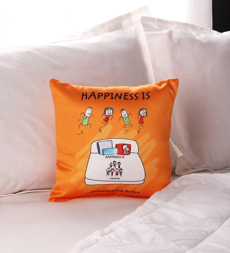 Happiness Pillow in Yellow Colour by Portico New York