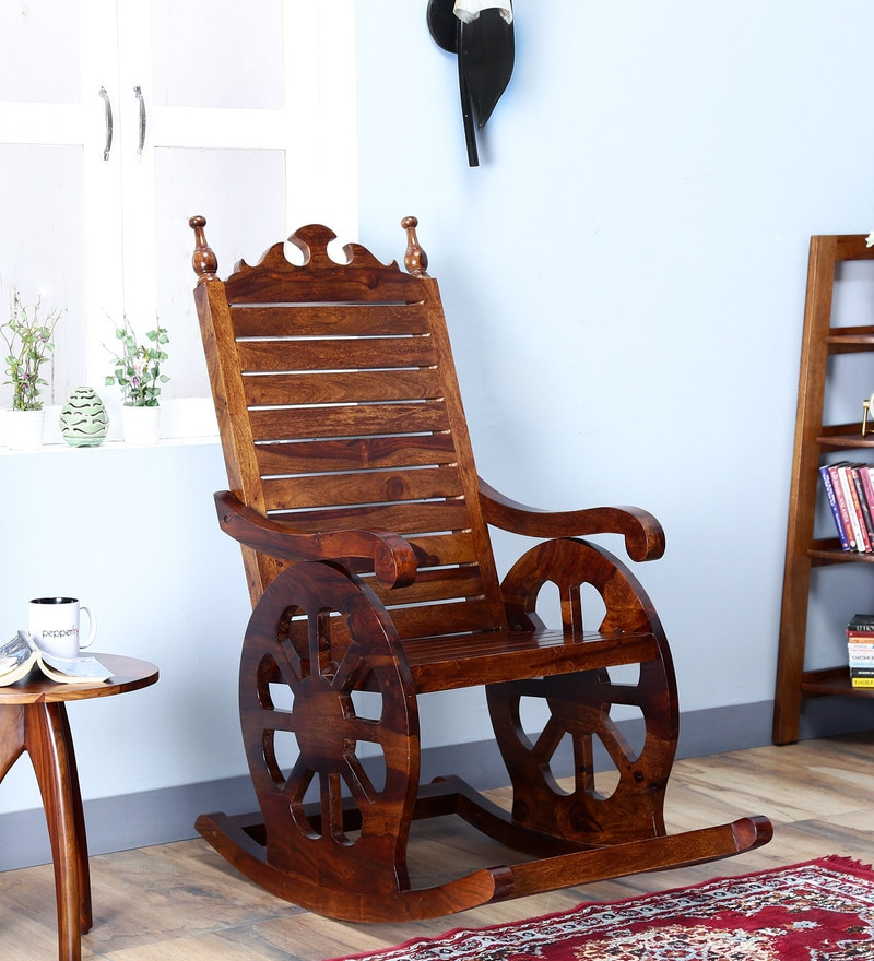 Harold Rocking Chair in Provincial Teak Finish by Amberville