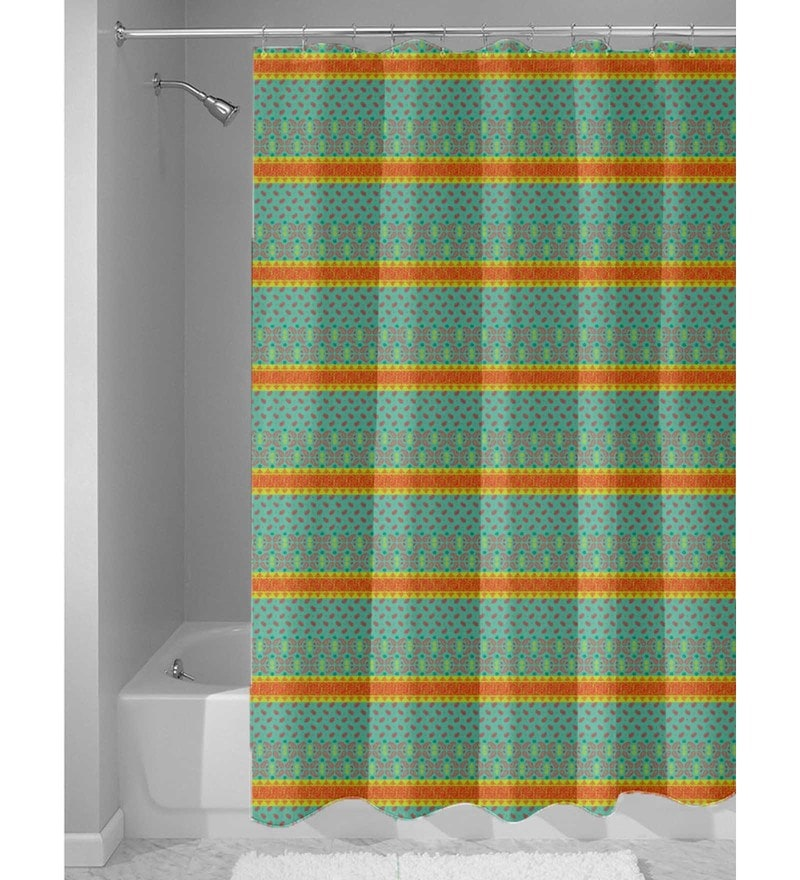 Green Nylon 84 x 48 Inch Shower Curtain by Haus and Sie