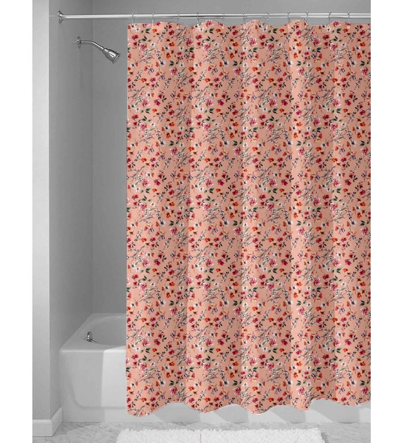 Peach Nylon 84 x 48 Inch Shower Curtain by Haus and Sie