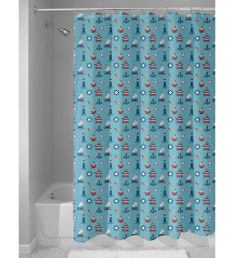 Sky Blue Nylon 84 x 48 Inch Shower Curtain by Haus and Sie