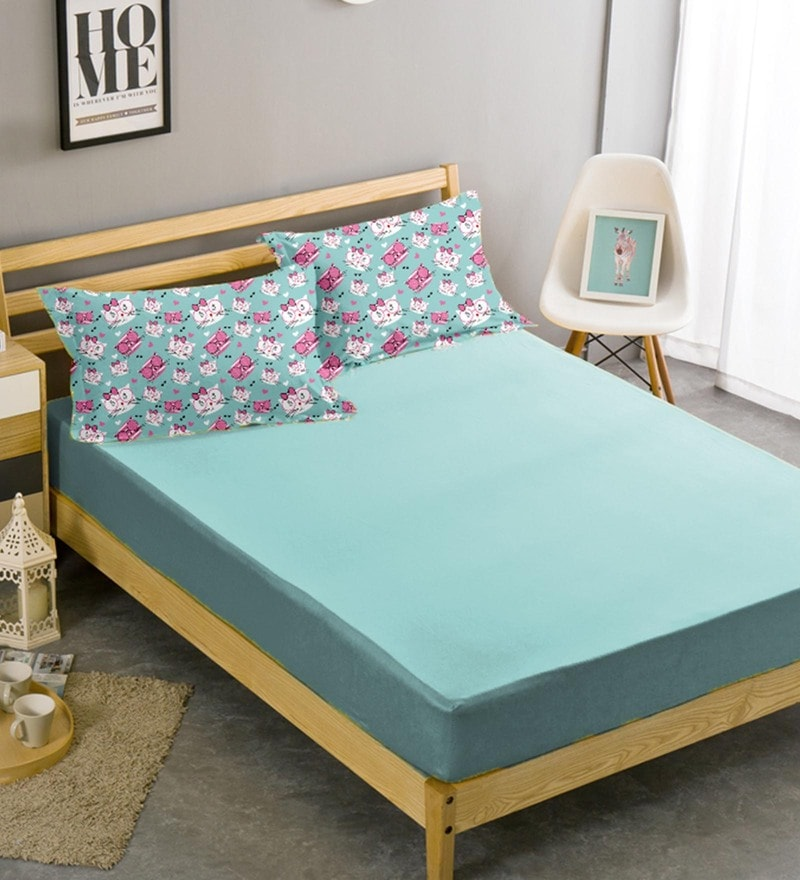Mint Cotton 96 x 108 Inch King Bed Sheet with Pillow Cover by Haus and Sie