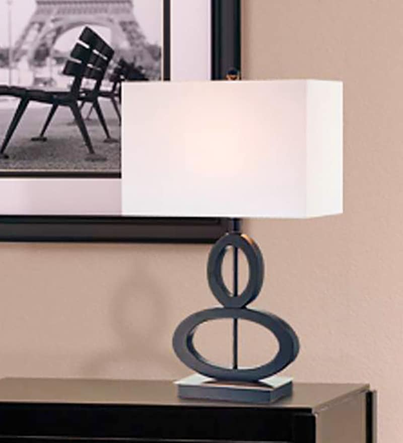 White Acrylate Modern Oval Stacked Table Lamp by Haverds