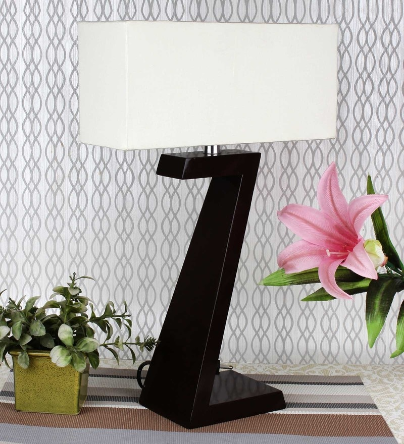White Cotton Deco Modern Table Lamp by Haverds