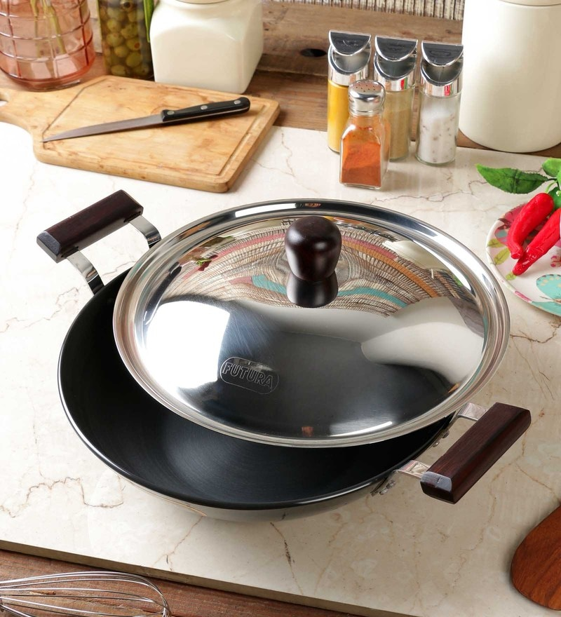 Futura Hard Anodized 3.75 L Frying Pan with Steel Lid by Hawkins