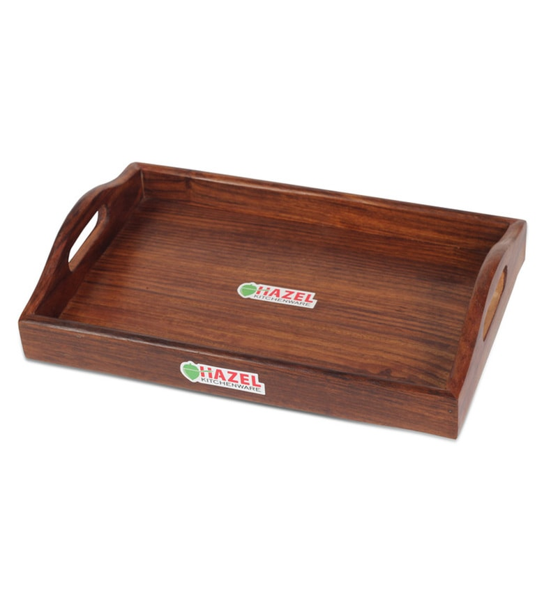 Hazel Brown Wood Serving Tray