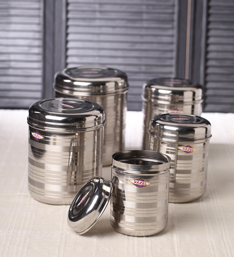 Hazel Kitchen Storage Stainless Steel Steel Container - 5 Pcs Set - Orange