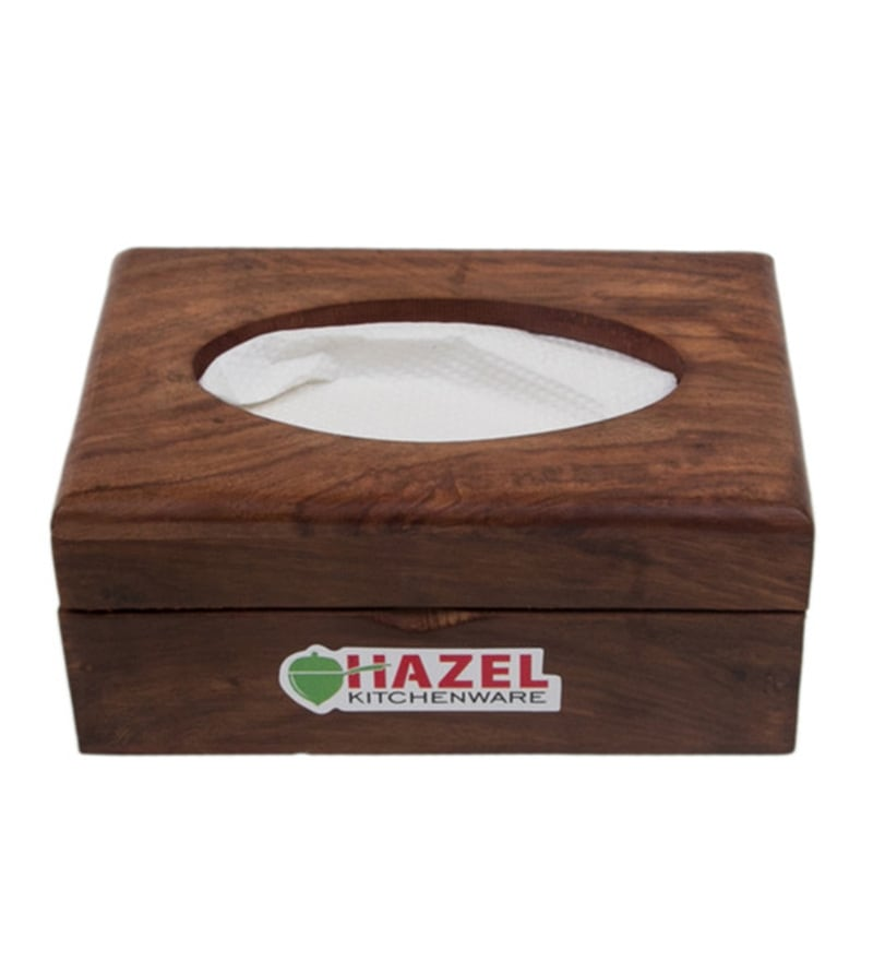 Hazel Rectangle Brown Wood Tissue Box