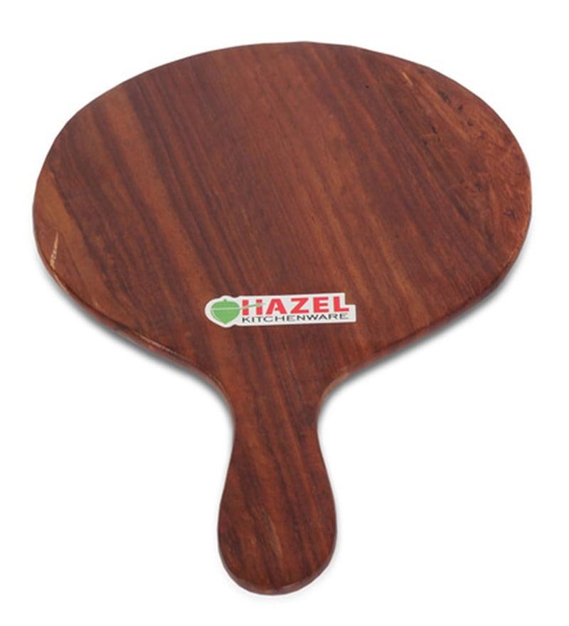 Hazel Round & Slim Brown Wood Pizza Plate