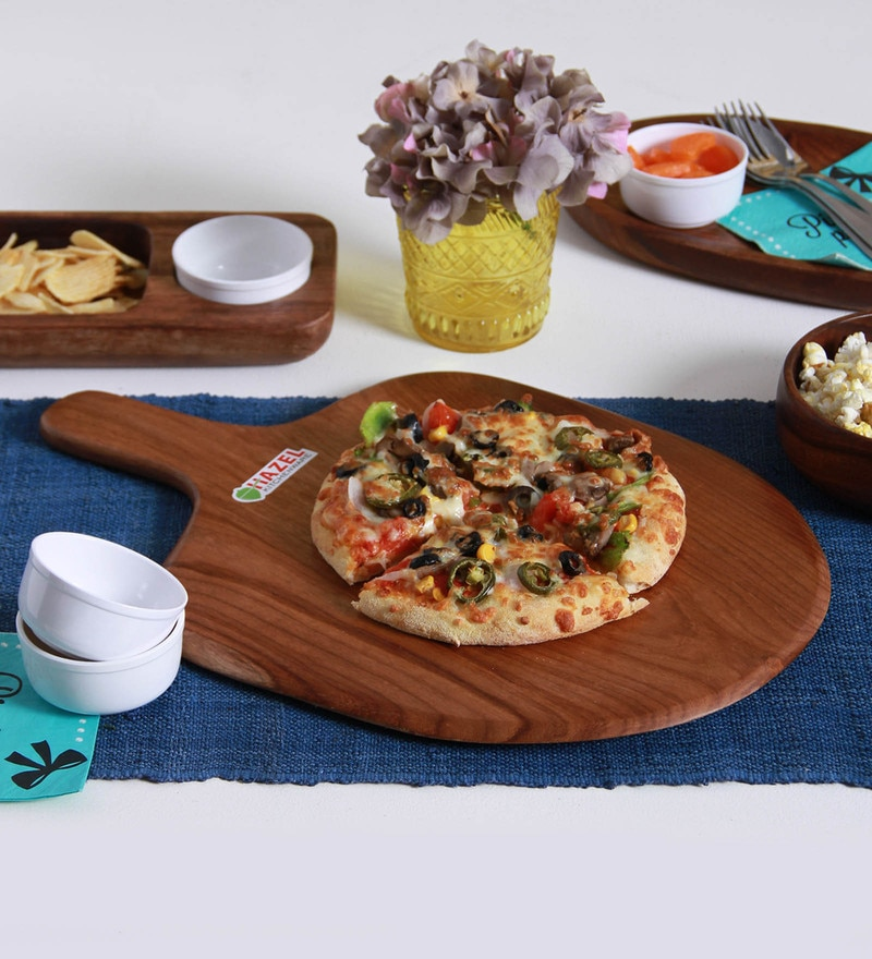 Hazel Square & Slim Brown Wood Pizza Plate