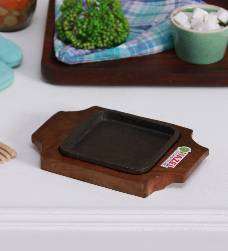 Hazel Square Brown Wood & Iron Sizzling Brownie Plate
