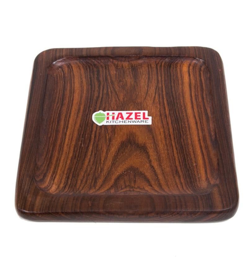 Hazel Square Wood Serving Tray