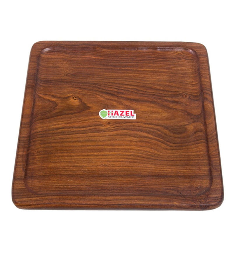Hazel Square Wood Serving Tray