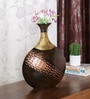 Ethnic Clock Makers Brown Solid Wood Hammered Vase