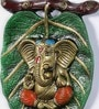 Multicolour White Metal Ganesha on Patta Statue by Handecor