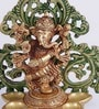 Brown & Green Dancing Ganesha Brass Diya Stand by Handecor