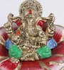 Multicolour Brass Ganesha on Rose Statue by Handecor
