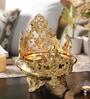 Yellow Brass Elephant & Peacock Design Urli by Handecor