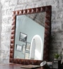 Hanumant Brown Solid Wood Carved Framed Decorative Mirror