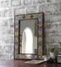 Multicolour Solid Wood & Tile Carved Framed Decorative Mirror by Hanumant