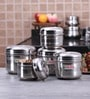 Hazel Silver Round Kitchen Storage Canister - Set of 5 with Free 5 Pc Scoop Set