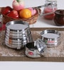 Hazel Silver Stainless Steel Tiffin Pyramid - Set of 4 with Free 3 Pc Scoop Set