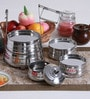 Hazel Silver Stainless Steel Tiffin Pyramid - Set of 5 with Free 3 Pc Scoop Set