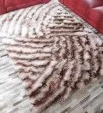 Beige & Brown Polyester 69 x 49 Inch Shaggy Carpet