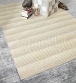 Beige & Brown Wool 80 x 56 Inch Hand Woven Flat Weave Loom Knotted Area Rug