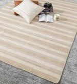 Beige & Brown Wool 80 x 56 Inch Hand Woven Flat Weave Loom Knotted Carpet