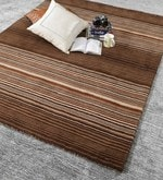 Beige & Brown Wool 80 x 56 Inch Hand Woven Loom Knotted Carpet