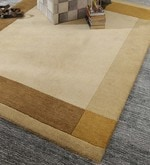 Beige & Brown Wool 80 x 56 Inch Indian Hand Knotted Carpet