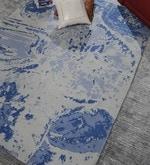 Blue Wool 92 x 64 Inch Hand Made Indo Nepal Tibetan Carpet