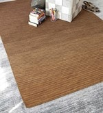 Brown Wool 80 x 56 Inch Hand Woven Flat Weave Loom Knotted Area Rug